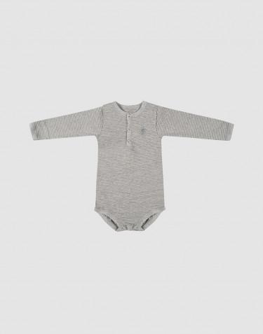 Langærmet baby body i økologisk bomuld gråstribet
