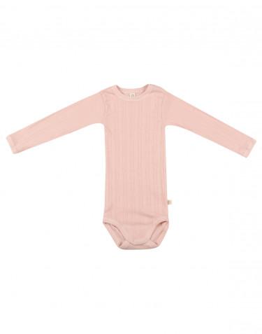 Langærmet baby body i økologisk bomuld rosa