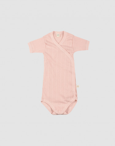 Slå-om body i økologisk bomuld til baby rosa