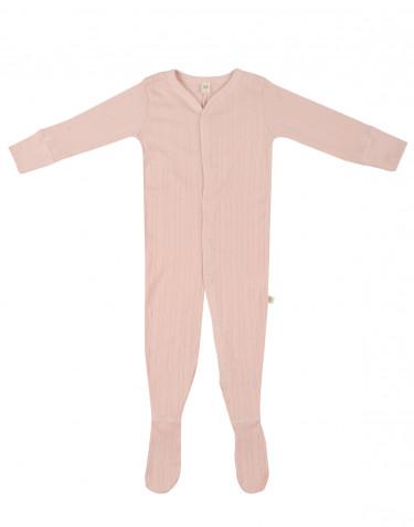 Baby heldragt m/fødder i økolgisk bomuld rosa