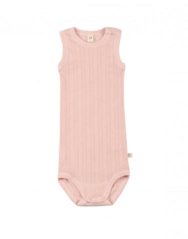 Baby body uden ærmer i økologisk bomuld rosa