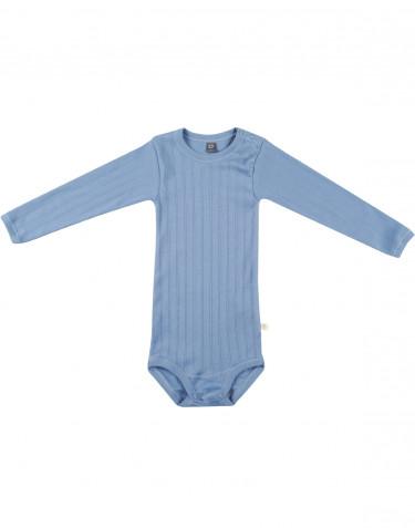 Langærmet baby body i økologisk bomuld blå