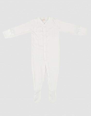 Baby heldragt m/fødder i økolgisk bomuld Hvid