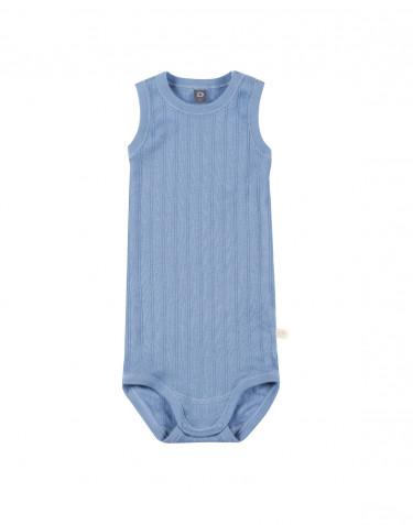 Baby body uden ærmer i økologisk bomuld blå
