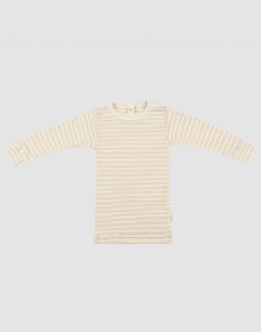 Langærmet trøje til baby i økologisk uld-silke beige/natur