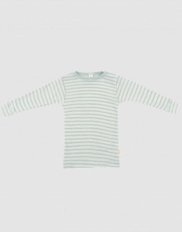 Langærmet trøje til baby i økologisk uld-silke pastelgrøn/natur