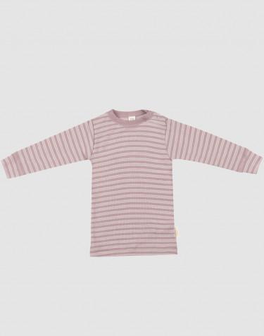 Langærmet trøje til baby i økologisk uld-silke pastelrosa/natur