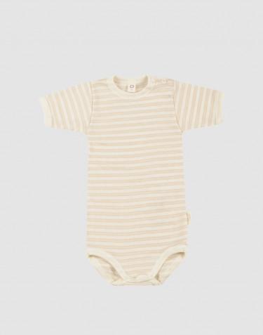 Kortærmet body til baby i økologisk uld-silke beige/natur