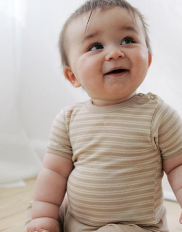 Merinould/silke body m/ korte ærmer til baby