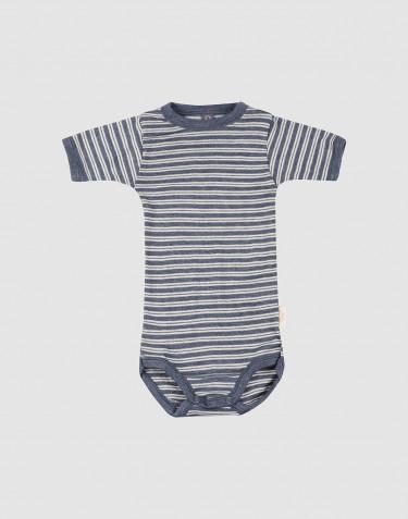 Baby body m/kort ærme i økologisk uld-silke blå melange/natur