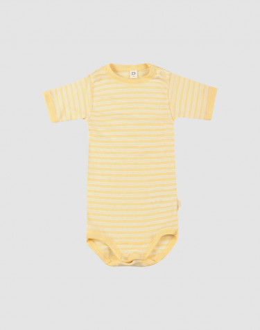 Kortærmet body til baby i økologisk uld-silke Lys gul/natur