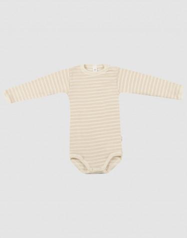 Baby body m/langt ærme i økologisk uld-silke beige/natur