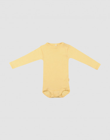 Baby body m/langt ærme i økologisk uld-silke Lys gul