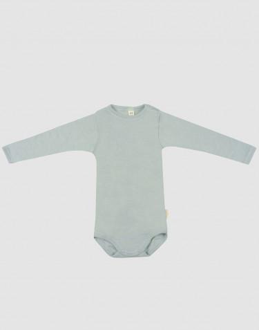 Baby body m/langt ærme i økologisk uld-silke pastelgrøn