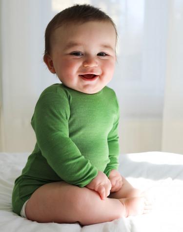 Merinould/silke body m/ lange ærmer til baby