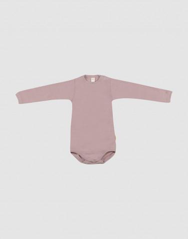 Baby body m/langt ærme i økologisk uld-silke pastelrosa