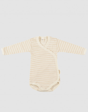 Slå-om body til baby i økologisk uld-silke beige/natur