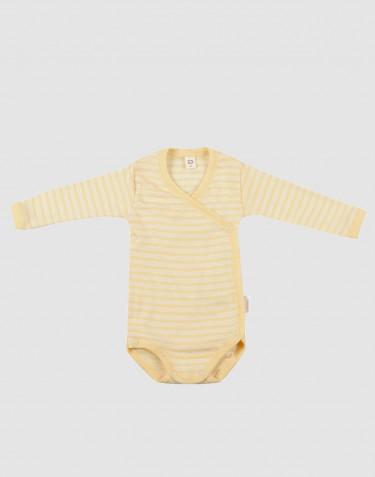 Slå-om body til baby i økologisk uld-silke Lys gul/natur