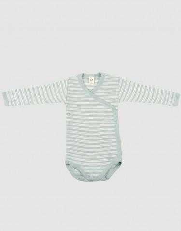 Slå-om body til baby i økologisk uld-silke pastelgrøn/natur
