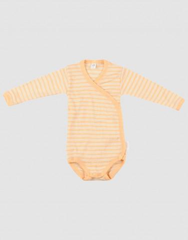 Slå-om body til baby i økologisk uld-silke abrikos/natur