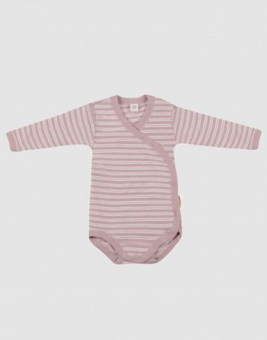 Slå-om body til baby i økologisk uld-silke pastelrosa/natur