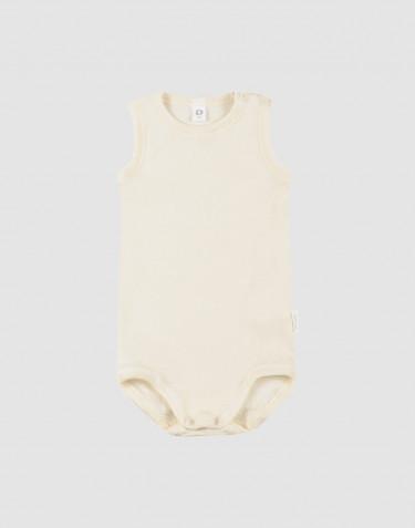 Baby body uden ærmer i økologisk uld-silke natur