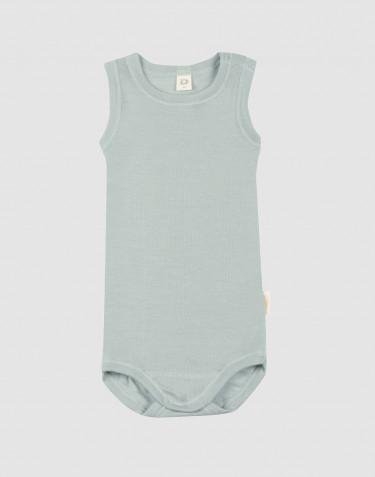 Baby body uden ærmer i økologisk uld-silke pastelgrøn