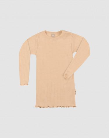 Merinould/silke bluse med hulmønster og lange ærmer til baby