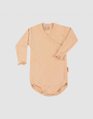 Merinould/silke slå-om body med hulmønster til baby