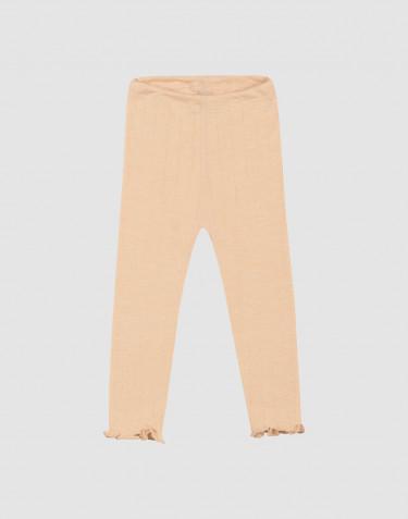Merinould/silke leggings med hulmønster til baby