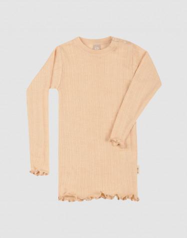Merinould/silke bluse med hulmønster, rib og lange ærmer til baby