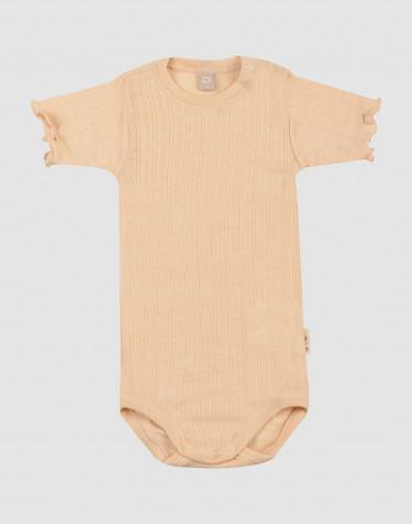 Merinould/silke body med hulmønster og korte ærmer til baby