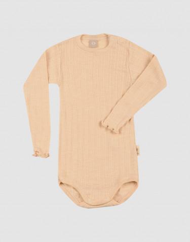 Merinould/silke body med hulmønster og lange ærmer til baby