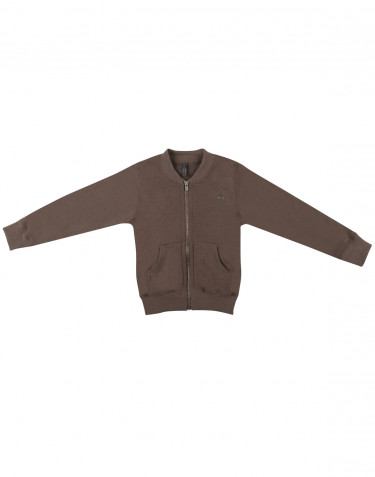 Lynlås trøje i uldfrotté til børn fudge
