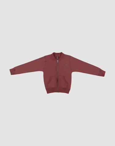 Lynlås trøje i uldfrotté til børn rouge
