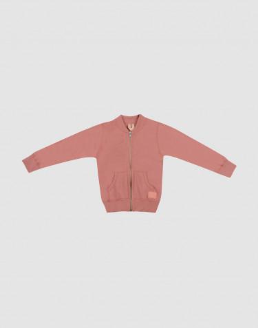 Lynlås trøje i uldfrotté til børn mørk rosa