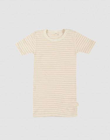 T-shirt til børn i økologisk uld-silke beige/natur