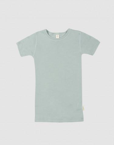 Børne t-shirt i økologisk uld-silke pastelgrøn