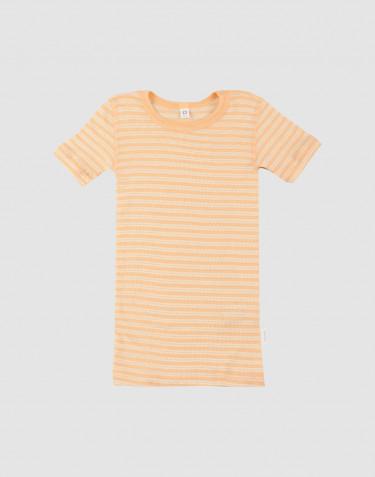 T-shirt til børn i økologisk uld-silke abrikos/natur