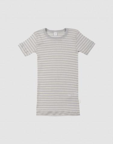 T-shirt til børn i økologisk uld-silke grå/natur