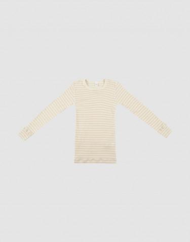 Langærmet trøje til børn i økologisk uld-silke beige/natur