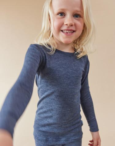 Langærmet trøje til børn i økologisk uld-silke Blåmelange