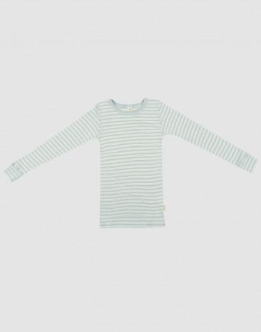 Langærmet trøje til børn i økologisk uld-silke pastelgrøn/natur