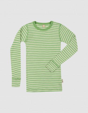 Merinould/silke bluse med lange ærmer til børn