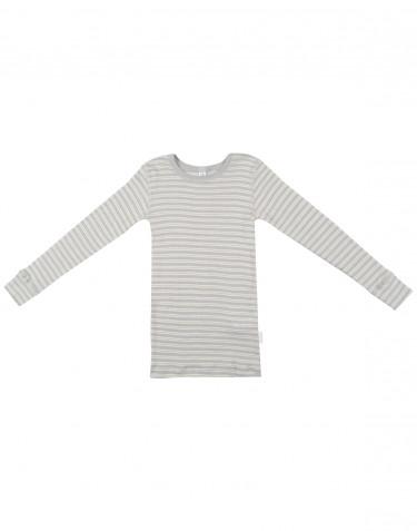 Langærmet trøje til børn i økologisk uld-silke grå/natur