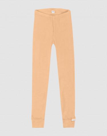 Børne leggings i økologisk uld-silke abrikos