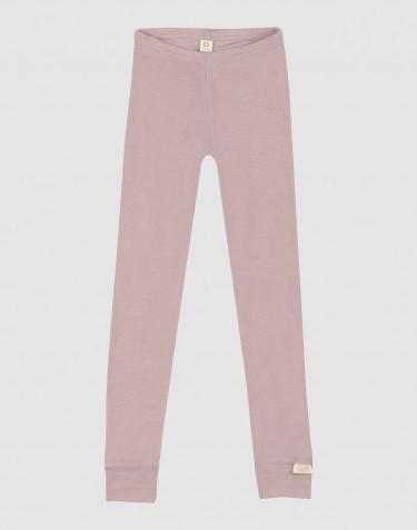 Børne leggings i økologisk uld-silke pastelrosa