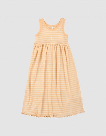 Kjole uden ærmer i økologisk uld-silke abrikos/natur