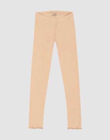 Merinould/silke leggings med hulmønster til børn