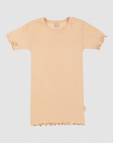 Merinould/silke T-shirt med hulmønster til børn